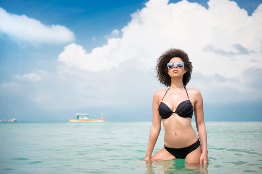 Beautiful Mixed Race Woman in Bikini, Shore